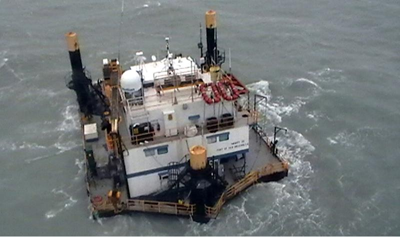 In this image taken Sept. 9, 2011 and released by the Mexican Navy (SEMAR) on Sept. 13, 2011, the Trinity II lift-boat floats in the sea in the Gulf of Mexico after it was disabled during tropical storm Nate and 10 oil workers went missing after they abandoned the vessel.  Ten oil workers went missing when they evacuated their disabled rig on Thursday Sept. 8 in a tropical storm and escaped in an enclosed life raft.  Six oil workers were rescued, three died and one remains missing, according to authorities. All were working for Houston-based Geokinetics Inc. on a liftboat owned by Trinity Liftboat Services based in New Iberia, Louisiana. (AP Photo/SEMAR)