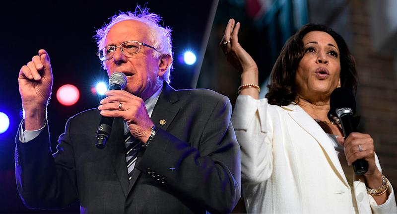 Senator Bernie Sanders and Senator Kamala Harris. (Photo illustration: Yahoo News; photos: Paras Griffin/WireImage via Getty Images, Alex Edelman /AFP/Getty Images)