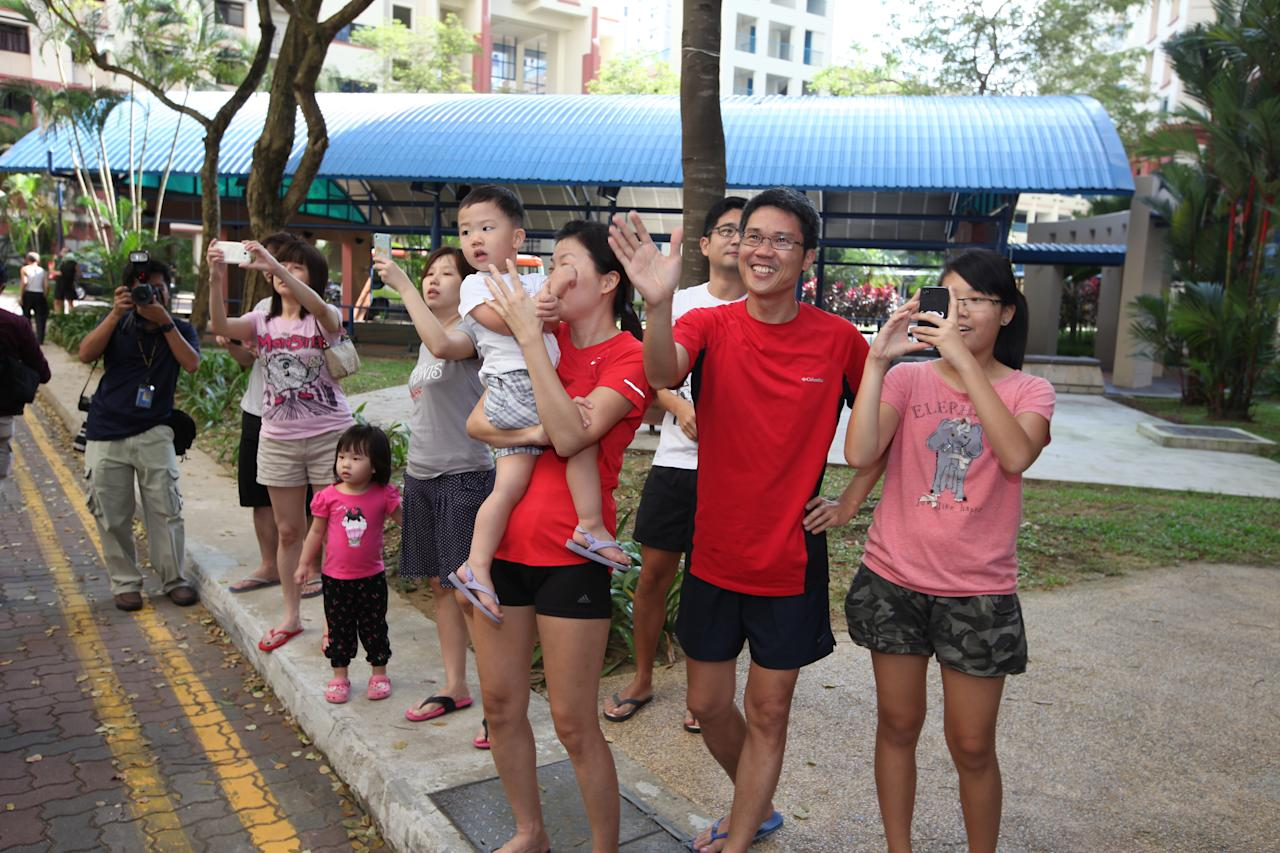 Residents of Punggol East showing their support at the thank you parade.