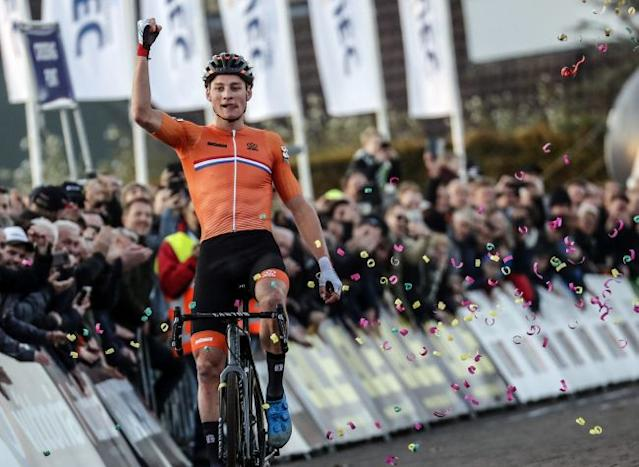 The Netherlands' Mathieu van der Poel defends his title to win the 2018 UEC Cyclo-cross European Championships on home soil in 's-Hertogenbosch