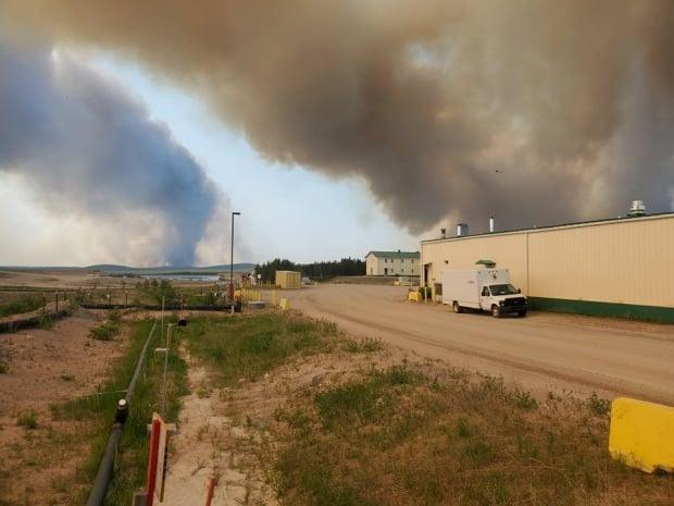 As Cameco and Saskatchewan Public Safety Agency crews help fight the Briggs fire, the SPSA said it's monitoring another blaze north of the mine, which — as of Friday morning — did not pose an immediate threat. (Submitted by Robin Clarke - image credit)