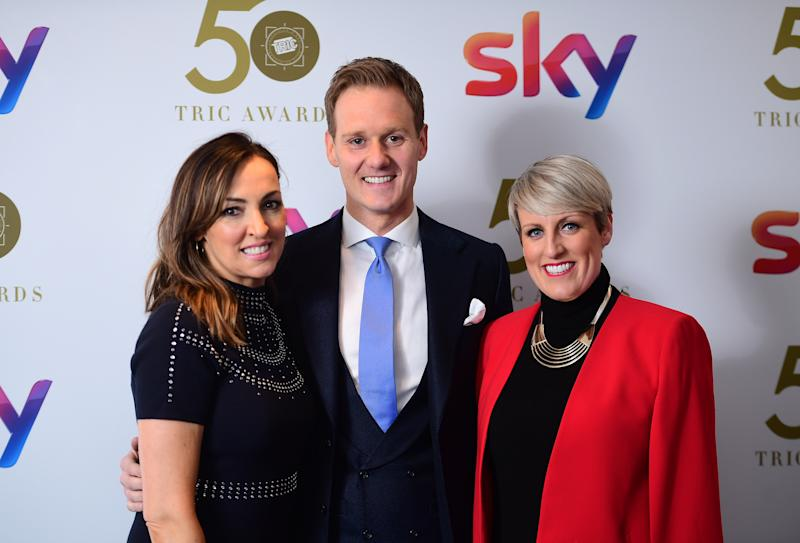 Sally Nugent, Dan Walker and Steph McGovern attending the TRIC Awards 2019 50th Birthday Celebration held at the Grosvenor House Hotel, London. (Photo by Ian West/PA Images via Getty Images)