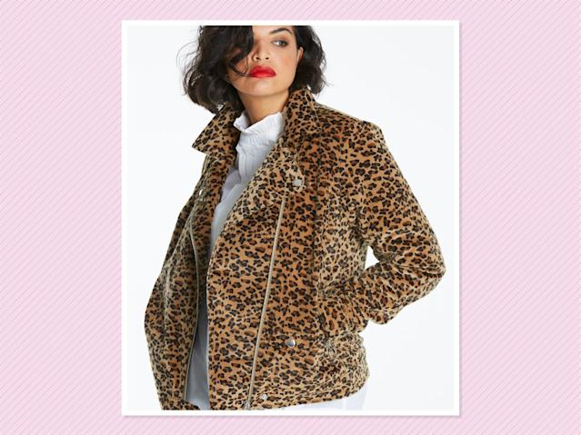 "<p>Leopard Print Textured Biker, $129.99, <a href=""https://www.simplybe.com/en-us/products/leopard-print-textured-biker/p/ZG683#v=color%3AZG683_BROWN%20PRT%7C"" rel=""nofollow noopener"" target=""_blank"" data-ylk=""slk:Simply Be"" class=""link rapid-noclick-resp"">Simply Be</a> (Photo: Simply Be) </p>"