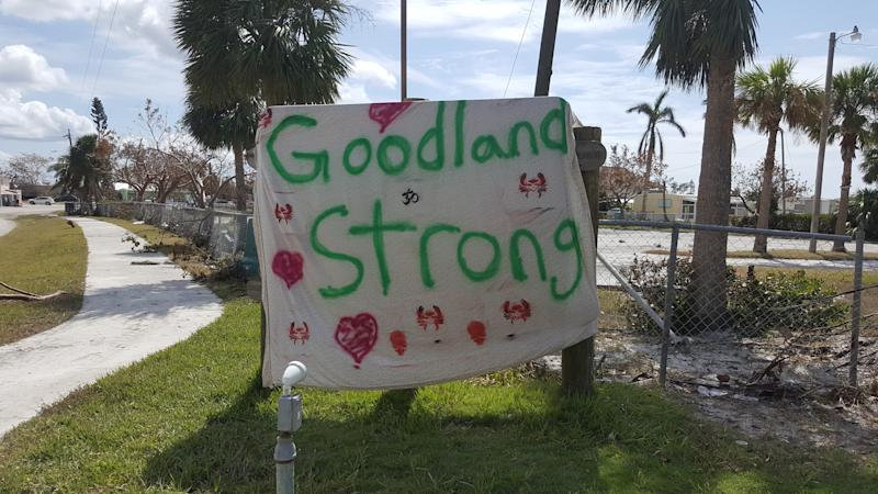 An encouraging makeshift sign in Goodland encourages those trying to recover from the storm.