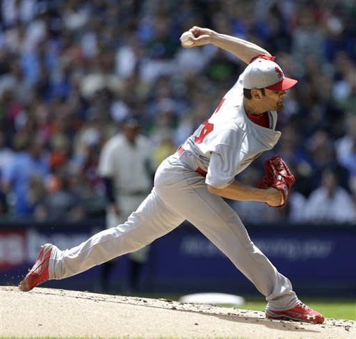 St. Louis Cardinals starting pitcher Jaime Garcia throws to the Milwaukee Brewers during the first inning of a baseball game, Sunday, May 5, 2013, in Milwaukee. (AP Photo/Jeffrey Phelps)
