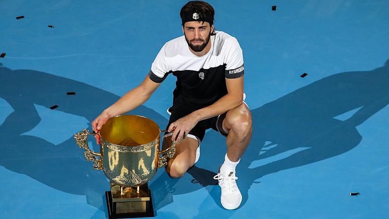 Nikoloz Basilashvili, pictured here after winning the 2018 China Open.