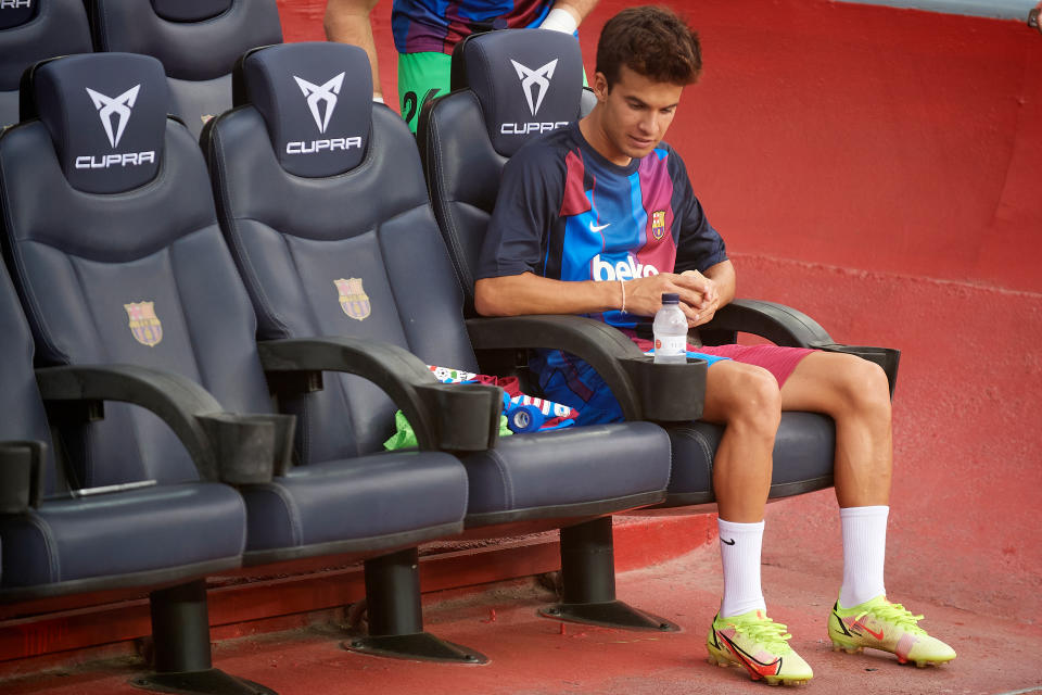 Riqui Puig of Barcelona sitting on the bench during the La Liga Santader match between FC Barcelona and Real Sociedad at Camp Nou on August 15, 2021 in Barcelona, Spain. (Photo by Jose Breton/Pics Action/NurPhoto via Getty Images)