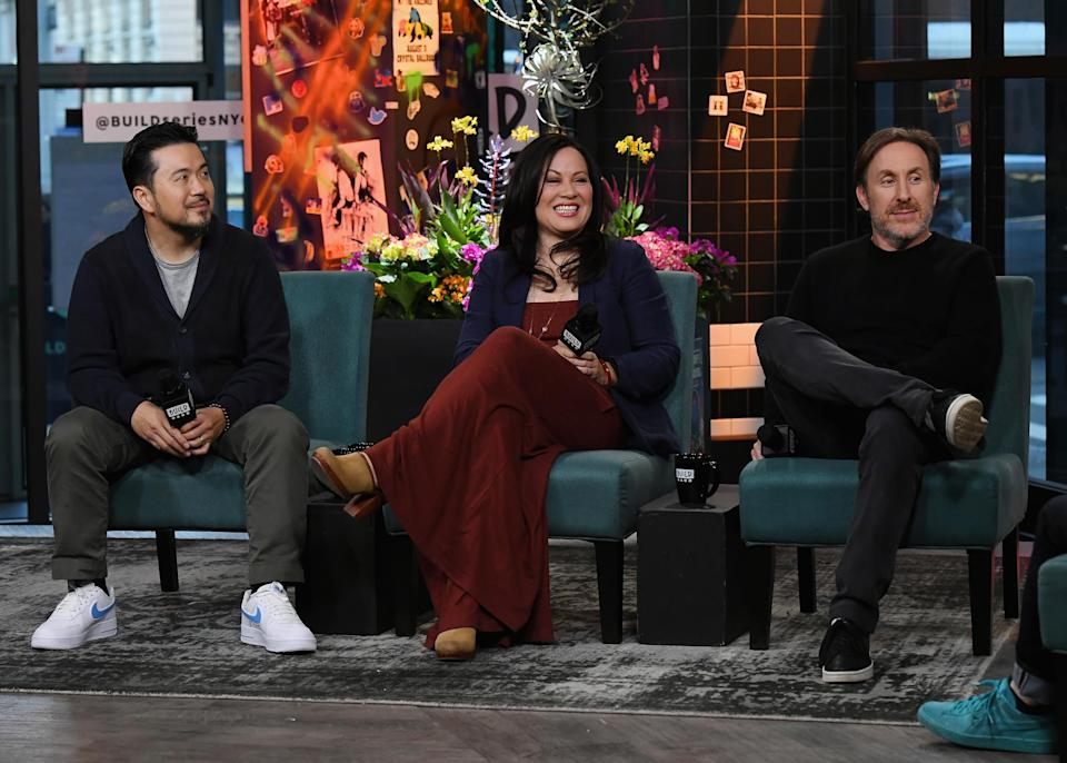 Justin Lin, Shannon Lee and Jonathan Tropper visit Build to discuss the TV show 'Warrior' at the Build Studio on March 26, 2019 in New York City. (PHOTO: Nicholas Hunt/Getty Images)