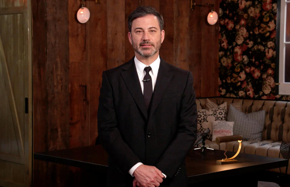 """UNSPECIFIED LOCATION - APRIL 18: In this screengrab, Jimmy Kimmel, speaks during """"One World: Together At Home"""" presented by Global Citizen on April, 18, 2020. The global broadcast and digital special was held to support frontline healthcare workers and the COVID-19 Solidarity Response Fund for the World Health Organization, powered by the UN Foundation. (Photo by Getty Images/Getty Images for Global Citizen )"""