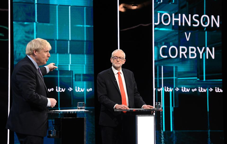 THESE PICTURES ARE AVAILABLE FOR EDITORIAL USE ONLY UNTIL DECEMBER 19TH PA Review of the General Election 2019 04/09/19 Handout file photo issued by ITV of Boris Johnson and Jeremy Corbyn during the Election head-to-head debate on ITV.