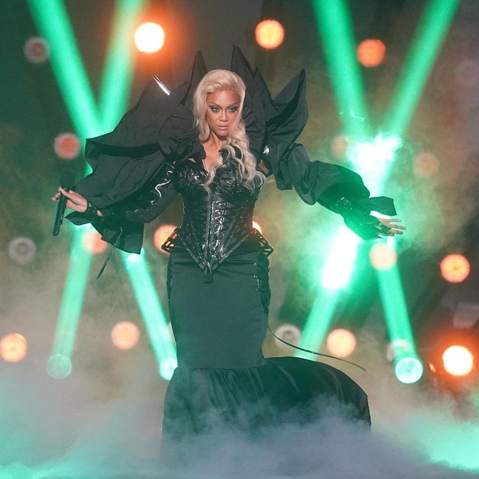 <p>For <em>Dancing With the Star</em><em>s</em>' Villains Night, Tyra Baks took the stage as the Couture Mistress of the Darkness. </p>