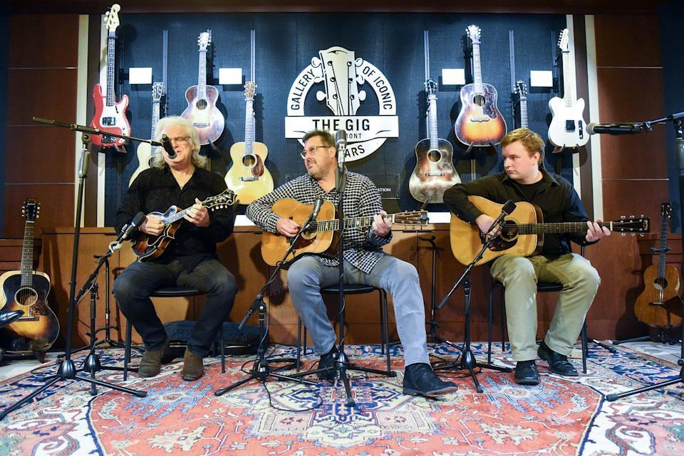 Gallery of Iconic Guitars opens at Belmont today April 25 - with Ricky Skaggs on mandolin and Vince Gill on acoustic guitar, with student Ben Valine accompanying.Click here for high-resolution version