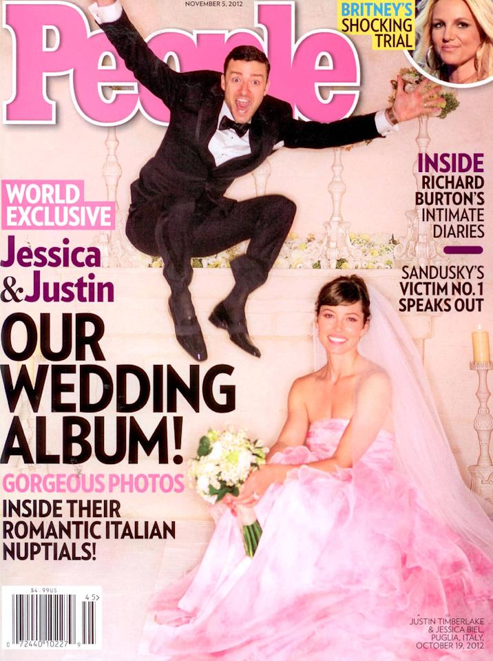 Justin Timberlake and Jessica Biel share their wedding album on the cover of People Magazine USA - 23.10.12 Supplied by WENN.com  WENN does not claim any ownership including but not limited to Copyright or License in the attached material. Any downloading fees charged by WENN are for WENN's services only, and do not, nor are they intended to, convey to the user any ownership of Copyright or License in the material. By publishing this material you expressly agree to indemnify and to hold WENN and its directors, shareholders and employees harmless from any loss, claims, damages, demands, expenses (including legal fees), or any causes of action or  allegation against WENN arising out of or connected in any way with publication of the material.