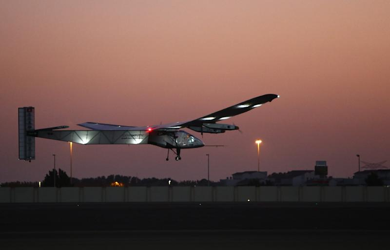 Bertrand Piccard, one of the two Swiss pilots of the solar-powered plane Solar Impulse 2, takes off from the Emirati capital Abu Dhabi's small Al-Bateen airport during a third test flight early on March 2, 2015 (AFP Photo/Marwan Naamani)