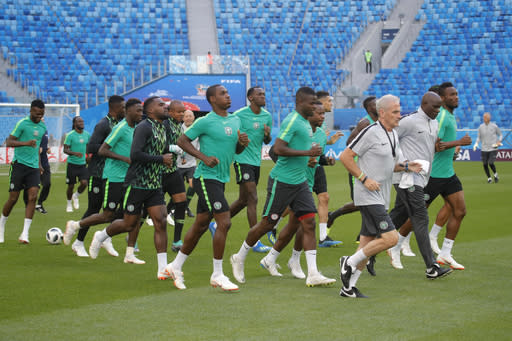Nigeria's players attend official training in St.Petersburg, Monday, June 25, 2018 on the eve of the group D match between Nigeria and Argentina at the 2018 soccer World Cup in the Saint Petersburg Arena. (AP Photo/Dmitri Lovetsky)