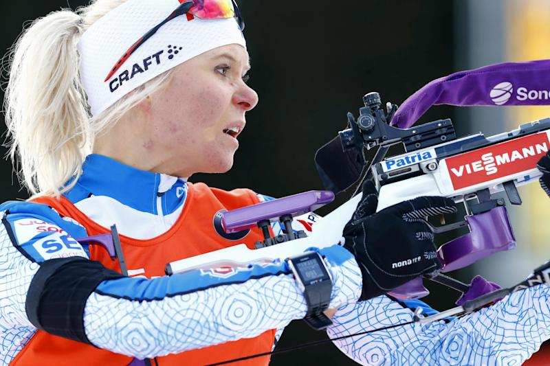 FInland's Mari Laukkanen competes in the women's 10 km pursuit competition, during the Biathlon World Cup, in Oslo, Saturday, March 18, 2017. (Heiko Junge, NTB scanpix via AP)