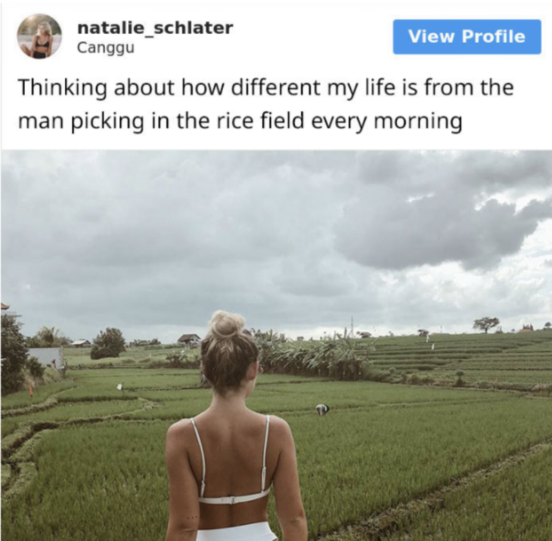 Instagrammer Natalie Schlater annoyed her followers by positioning her life to a rice worker in Bali. (Screenshot: Instagram/Natalie Schlater; SomeeCards)