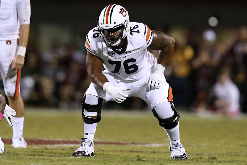 Auburn's Prince Tega Wanogho is a potential top-75 draft pick despite being relatively new to the sport. (Photo by Jonathan Bachman/Getty Images)