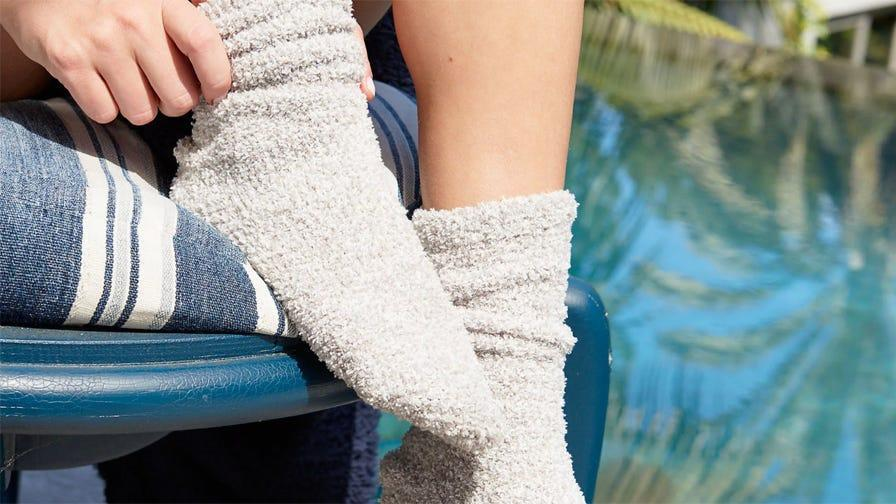 Best gifts for wives: Barefoot Dreams CozyChic socks.