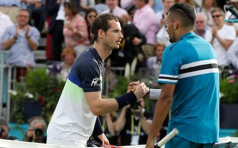 "<span>Kyrgios (R) is delighted that <a class=""link rapid-noclick-resp"" href=""/olympics/rio-2016/a/1211276/"" data-ylk=""slk:Andy Murray"">Andy Murray</a> will make his comeback at Queen's</span> <span>Credit: AP </span>"