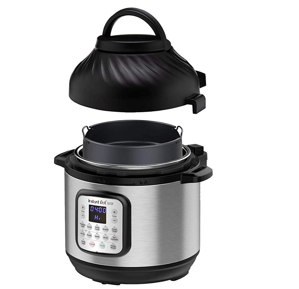 "The <a href=""https://amzn.to/36hrw5H"" target=""_blank"" rel=""noopener noreferrer"">Instant Pot Duo Crisp Pressure Cooker 11-in-1 - 8 Qt with Air Fryer</a> is large enough to serve up to eight people and includes an air fryer lid. Normally $180, <a href=""https://amzn.to/36hrw5H"" target=""_blank"" rel=""noopener noreferrer"">get it on sale for $130 on Amazon</a> right now."