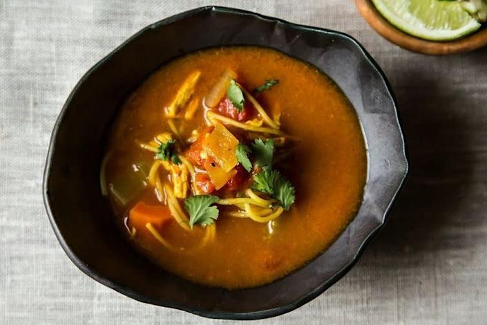 "<strong>Get the <a href=""http://food52.com/recipes/19366-mexican-chicken-noodle-soup"" rel=""nofollow noopener"" target=""_blank"" data-ylk=""slk:Mexican Chicken Noodle Soup recipe from Food52"" class=""link rapid-noclick-resp"">Mexican Chicken Noodle Soup recipe from Food52</a></strong>"