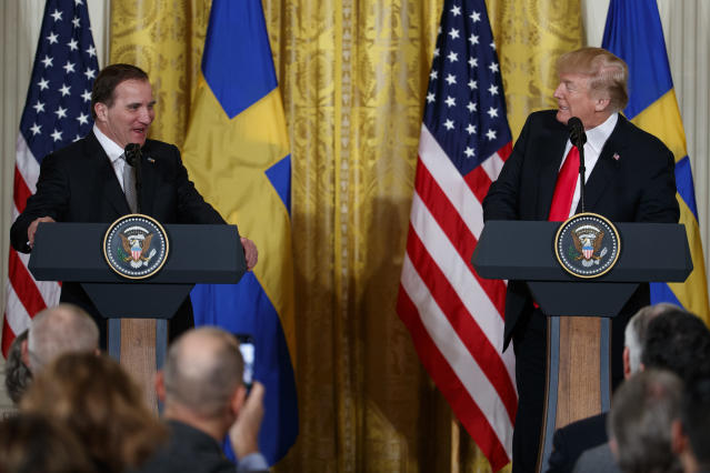 President Trump speaks during a news conference with Swedish Prime Minister Stefan Lofven in the East Room of the White House. (AP Photo/Evan Vucci)