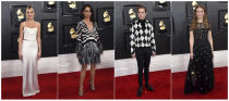This combination of photos shows fashion worn by Dua Lipa, from left, Liza Koshy, Ben Platt and Maggie Rogers at the 62nd annual Grammy Awards at the Staples Center on Sunday, Jan. 26, 2020, in Los Angeles. (Photos by Jordan Strauss/Invision/AP)