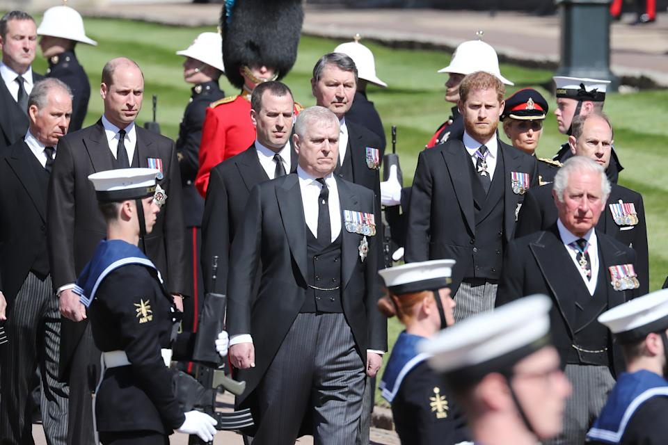 WINDSOR, ENGLAND - APRIL 17: Earl of Snowdon David Armstrong-Jones, Prince William, Duke of Cambridge, Peter Phillips, Prince Andrew, Duke of York, Vice-Admiral Sir Timothy Laurence, Prince Harry, Duke of Sussex, Prince Edward, Earl of Wessex and Prince Charles, Prince of Wales during the funeral of Prince Philip, Duke of Edinburgh at Windsor Castle on April 17, 2021 in Windsor, England. Prince Philip of Greece and Denmark was born 10 June 1921, in Greece. He served in the British Royal Navy and fought in WWII. He married the then Princess Elizabeth on 20 November 1947 and was created Duke of Edinburgh, Earl of Merioneth, and Baron Greenwich by King VI. He served as Prince Consort to Queen Elizabeth II until his death on April 9 2021, months short of his 100th birthday. His funeral takes place today at Windsor Castle with only 30 guests invited due to Coronavirus pandemic restrictions. (Photo by Gareth Fuller/WPA Pool/Getty Images)