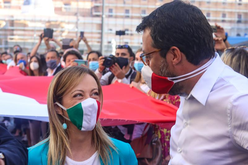 "ROME, ITALY - 2020/06/02: Head of the Lega party, Matteo Salvini, (R) and head of the Fratelli d'Italia (FdI) party, Giorgia Meloni (L) talk to each other during the centre-right demonstration against the government at Piazza del Popolo giving a voice to the opposition and ""to the many Italians who want to be heard. (Photo by Cosimo Martemucci/SOPA Images/LightRocket via Getty Images) (Photo: SOPA Images via Getty Images)"