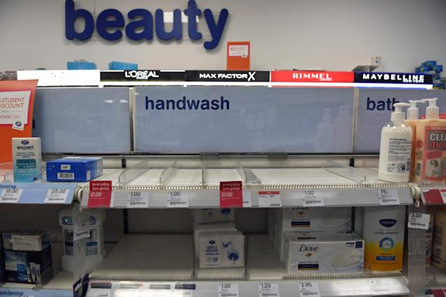 As uncertainty over Coronavirus continues Boots sellls out of handwash at Victoria Station in London. PA Photo. Picture date: Tuesday March 3, 2020. See PA story HEALTH Coronavirus. Photo credit should read: Stefan Rousseau/PA Wire