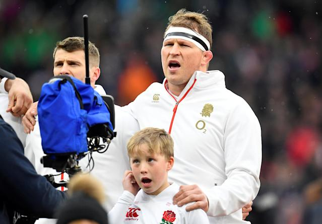 FILE PHOTO: England's Dylan Hartley, sings the national anthem before the Rugby Union Six Nations Championship match between England and Ireland at Twickenham Stadium, London, Britain, March 17, 2018. REUTERS/Toby Melville/File Photo
