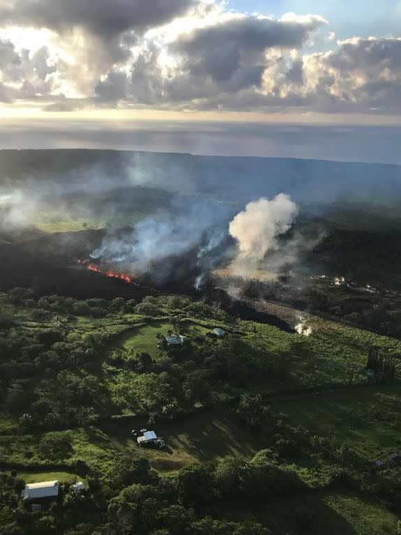 An aerial view of fissure 17 in the Leilani Estates neighborhood taken on May 14.