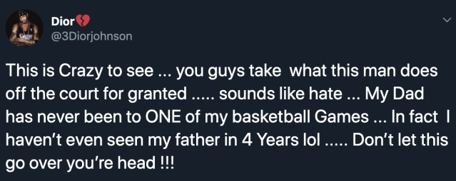 Dior Johnson responds to criticism of LeBron James' enthusiasm for his son. (Twitter)
