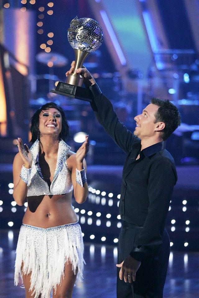 """<p>98 Degrees member Drew Lachey cranked up the heat with partner Cheryl Burke on one of the most <a href=""""https://youtu.be/9OvqwJsNZVQ"""" rel=""""nofollow noopener"""" target=""""_blank"""" data-ylk=""""slk:memorable freestyle performance ever"""" class=""""link rapid-noclick-resp"""">memorable freestyle performance ever</a>. The singer took home the Mirror Ball Trophy during the second season.</p>"""