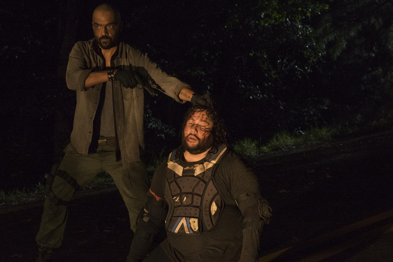 <p>Cooper Andrews as Jerry, Mike Seal as Gary in AMC's <i>The Walking Dead</i>.<br />(Photo: Gene Page/AMC) </p>