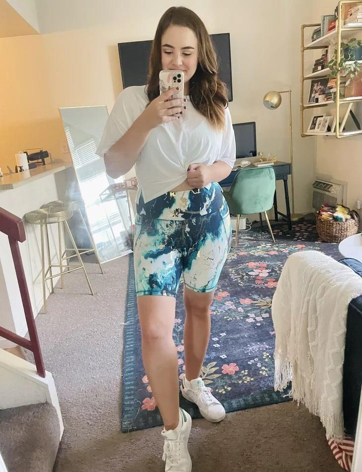 """<p><strong>The item:</strong> <span>Old Navy High-Waisted PowerSoft Side-Pocket Biker Shorts in Blue Marble</span> ($27) </p> <p><strong>What our editor said:</strong> """"I wish you could jump through my screen and see them in person, because the marbleized gold accents are gorgeous. Plus, they have side pockets so I can easily take my phone and keys on the go. They fit true to size (I'm wearing a medium), and the high-waisted cut is so comfy."""" - Macy Cate Williams</p> <p>If you want to read more, here is the<a href=""""https://www.popsugar.com/fitness/old-navy-marble-bike-shorts-review-48465616"""" class=""""link rapid-noclick-resp"""" rel=""""nofollow noopener"""" target=""""_blank"""" data-ylk=""""slk:complete review""""> complete review</a>.</p>"""