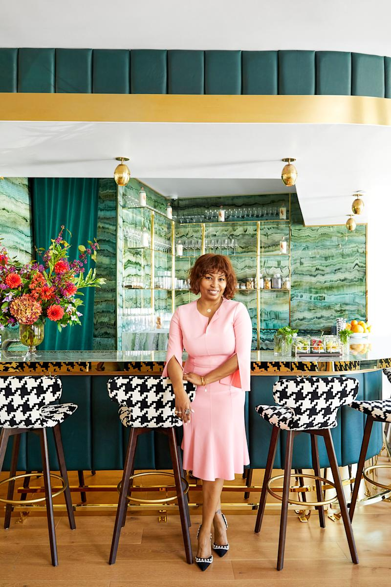 AD100 designer Brigette Romanek in the bar she conceived for the Allbright Club.