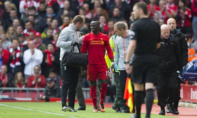 """<span class=""""element-image__caption"""">Liverpool are still awaiting news over the extent of Sadio Mané's knee injury that forced the Senegal international out of the Merseyside derby on Saturday.</span> <span class=""""element-image__credit"""">Photograph: Super/SilverHub/Rex/Shutterstock</span>"""
