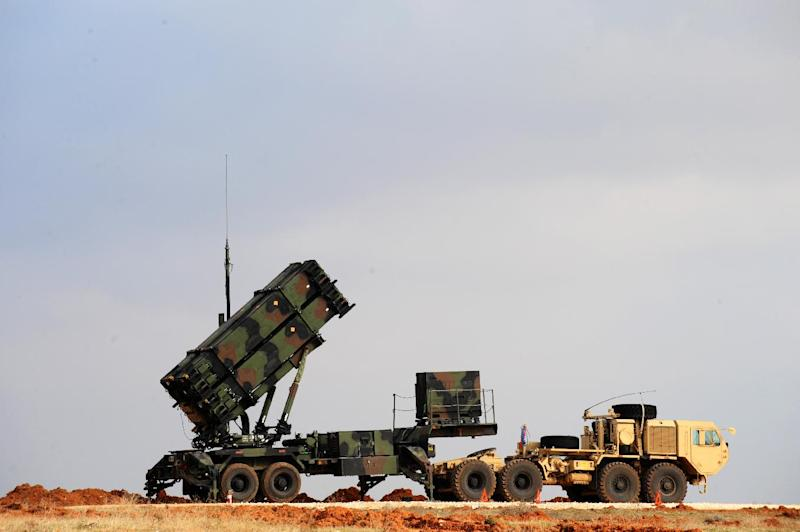 A Patriot missile launcher system is pictured at a Turkish military base in Gaziantep on February 5, 2013