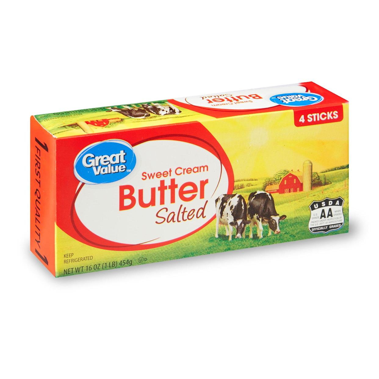 Great Value Salted Butter delivered from Walmart+ (Photo: Walmart)