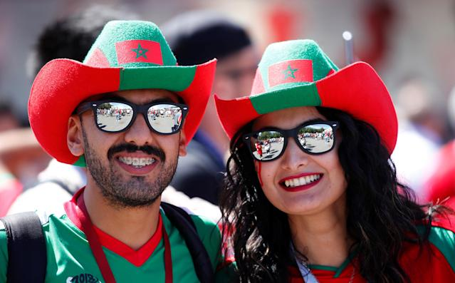 Soccer Football - World Cup - Group B - Portugal vs Morocco - Luzhniki Stadium, Moscow, Russia - June 20, 2018 Morocco fans outside the stadium before the match REUTERS/Axel Schmidt