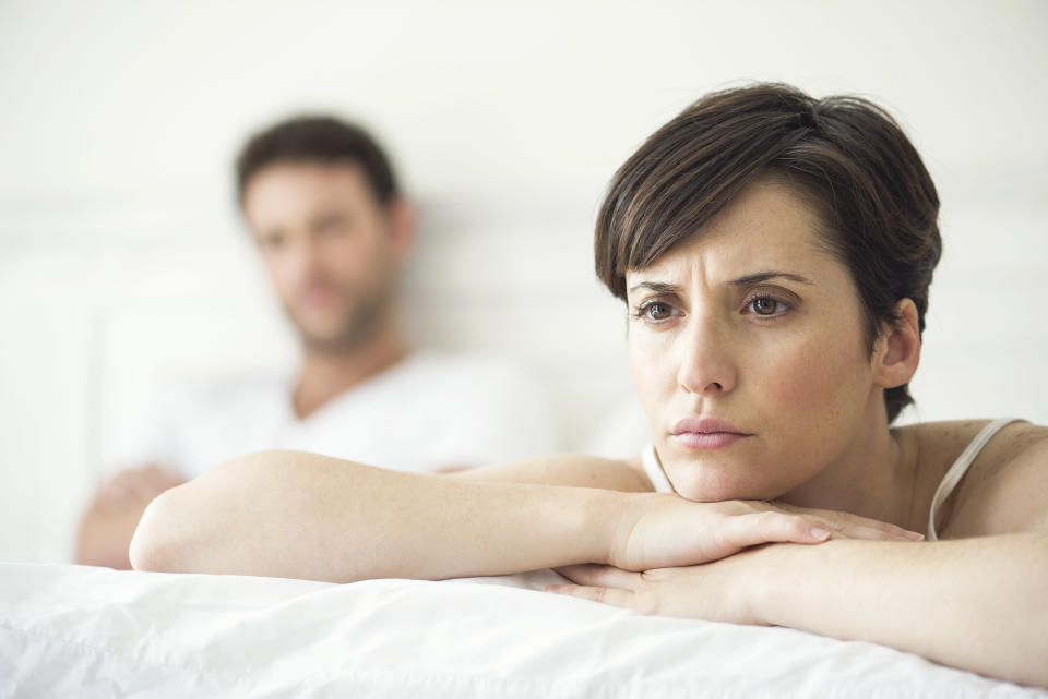 """<p>If you and your partner are sleeping in separate beds, then you could be heading for trouble. """"A breakdown in physical contact is often indicative of an emotional separation that could lead to divorce,"""" adds O'Donnell. <i>[Photo: Getty]</i> </p>"""