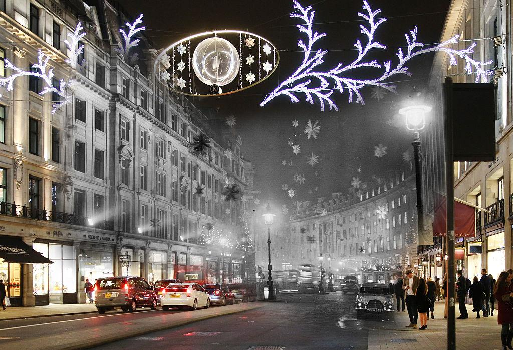 <p>Christmas decorations consisting mainly of snow crystal stars made of aluminium to give the effect of a snowstorm are displayed on Regent Street on 30 November, 1955 London, England. (Getty) </p>