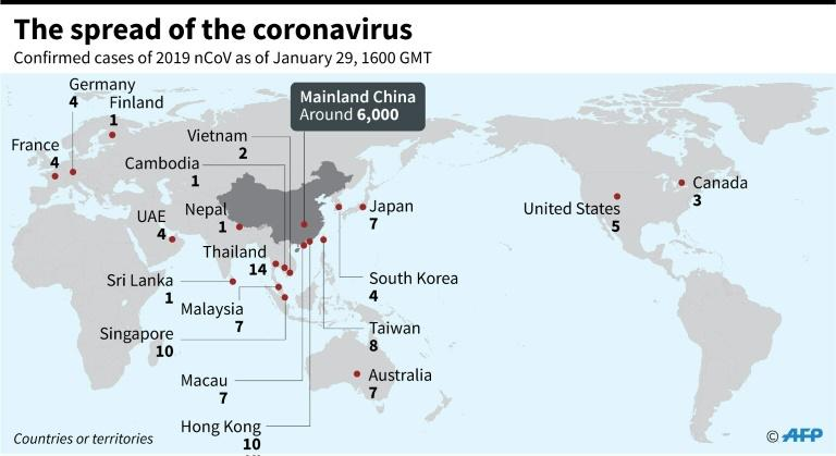 Map showing countries and territories where cases of the China virus have been confirmed, as of 1600 GMT, January 29, 2020 (AFP Photo/)