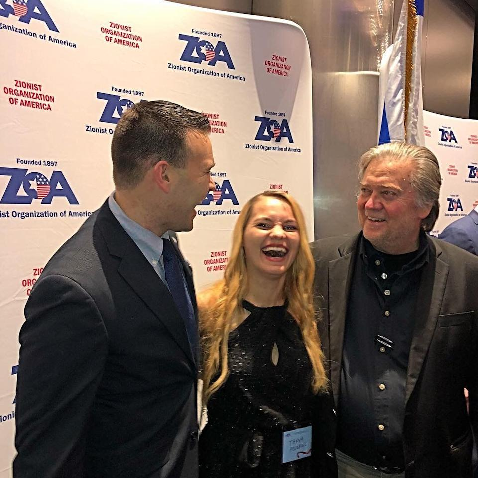 Jack Posobiec, his wife, Tanya Gorbach, and Steve Bannon share a laugh in 2017. (Photo: Jack Posobiec/Instagram)