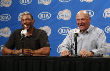Los Angeles Clippers' new owner Ballmer speaks at a news conference with coach Rivers after being introduced at a fan event at the Staples Center in Los Angeles
