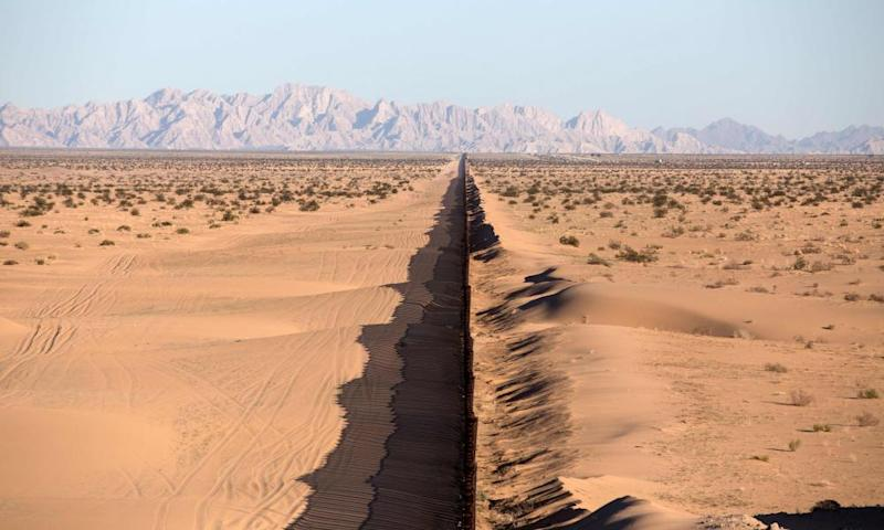 This file photo taken on 15 February 2017 shows a section of the US-Mexico border fence seen at San Luis Rio Colorado, Sonora state, in north-western Mexico.