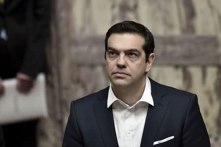 Greek Prime Minister Alexis Tsipras attends the swearing-in ceremony of newly elected President Prokopis Pavlopoulos at the parliament in Athens