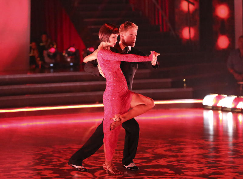 "This May 13, 2013 photo released by ABC shows country singer Kellie Pickler and her partner Derek Hough performing on the celebrity dance competition series ""Dancing with the Stars,"" in Los Angeles. Pickler is one of four celebrities competing in the finals Monday, May 20.  A winner will be announced on Tuesday. (AP Photo/ABC, Adam Taylor)"